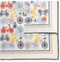 Drake's Bicycle-Print Cotton and Silk-Blend Pocket Square