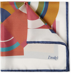 Drake's Printed Silk Pocket Square