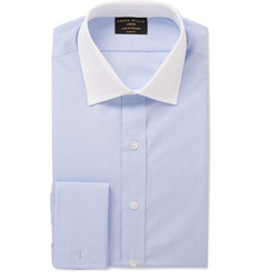 Emma Willis Blue Contrast-Collar Cotton Shirt