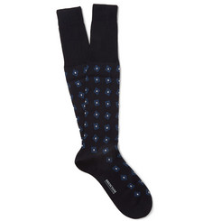 Bresciani Abstract Square-Patterned Cotton Socks