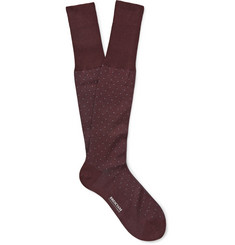 Bresciani Micro-Dot Cotton Knee-Length Socks