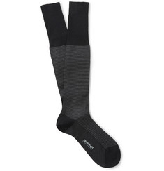 Bresciani Houndstooth Knee-Length Cotton Socks