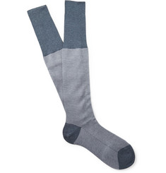 Bresciani Herringbone Knee-Length Cotton Socks