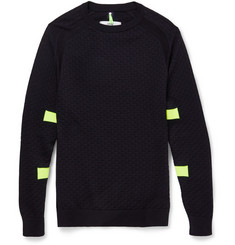 OAMC Neon-Trimmed Patterned Cotton-Blend Sweater