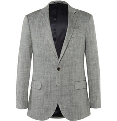 J.Crew Grey Herringbone Linen and Silk-Blend Blazer
