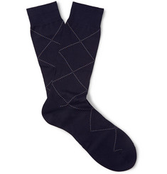 Pantherella Astell Argyle-Patterned Cotton-Blend Socks