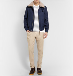 AMI Shearling-Collar Wool-Blend Bomber Jacket