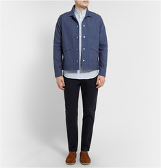 AMI Slim-Fit Button-Down Collar Striped Cotton Shirt