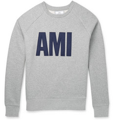 AMI Felt-Appliquéd Fleece-Back Cotton-Jersey Sweatshirt