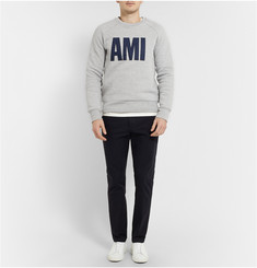AMI Felt-Appliqué Fleece-Back Cotton-Jersey Sweatshirt