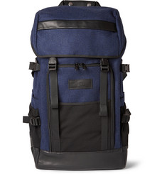 AMI Wool, Mesh and Leather Backpack