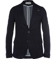 Oliver Spencer Navy Portland Cotton-Blend Jacquard Blazer