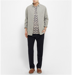 Oliver Spencer Stitch-Detailed Striped Cotton T-Shirt