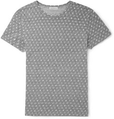 Oliver Spencer Patterned Loopback Cotton-Blend Jersey T-Shirt