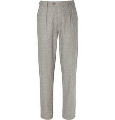 Oliver Spencer Grey Woven-Silk Suit Trousers