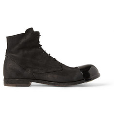 Officine Creative Bubble Rubber-Toed Suede Lace-Up Boots