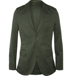 Officine Generale Green Slim-Fit Cotton Suit Jacket