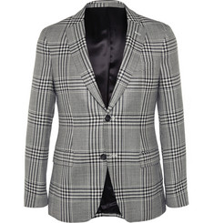Officine Generale Slim-Fit Puppytooth Wool, Silk and Linen-Blend Blazer