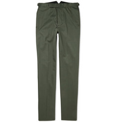 Officine Generale Green Slim-Fit Cotton Suit Trousers