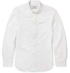 Officine Generale Navy Selvedge Button-Down Collar Selvedge-Edge Oxford Shirt