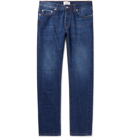 Slim-fit Washed-denim Jeans - Blue