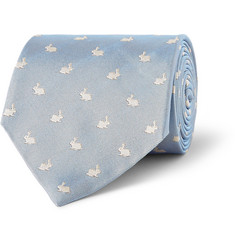 Paul Smith Shoes & Accessories Rabbit-Patterned Silk-Faille Tie