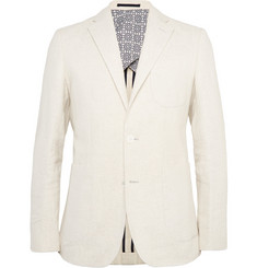 Hardy Amies Cream Slim-Fit Stretch Linen and Cotton-Blend Blazer