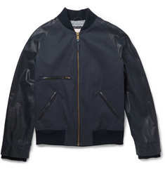 Billy Reid Leather-Panelled Coated Linen and Cotton-Blend Bomber Jacket