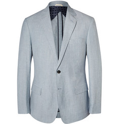 Billy Reid Blue Linen and Wool-Blend Blazer