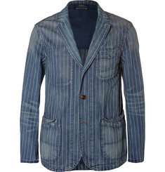 Polo Ralph Lauren Blue Striped Washed-Denim Blazer