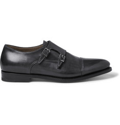 Santoni Wilson Leather Monk-Strap Shoes