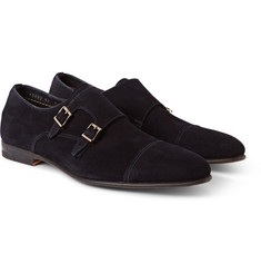 Santoni Wilson Suede Monk-Strap Shoes