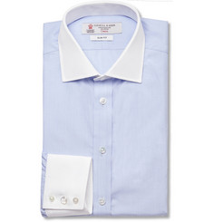 Turnbull & Asser Blue Contrast-Collar and Cuff Cotton Shirt
