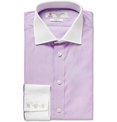 Turnbull & Asser Lilac Contrast-Collar and Cuff Cotton Shirt