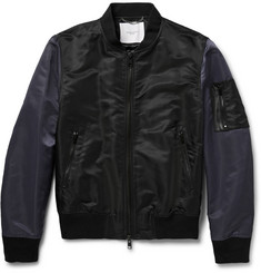 Ovadia & Sons OS-1 Leather-Trimmed Satin-Finish Shell Bomber Jacket