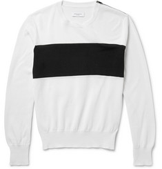 Ovadia & Sons Zip-Detailed Striped Cotton Sweater