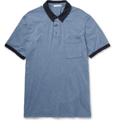 James Perse Marled Cotton-Jersey Polo Shirt