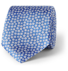 Canali Floral-Embroidered Woven-Silk Tie