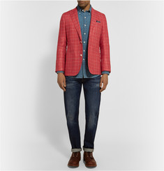 Freemans Sporting Club Slim-Fit Checked Silk and Linen-Blend Blazer