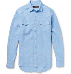 Freemans Sporting Club Slim-Fit Western Linen Shirt