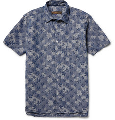 Freemans Sporting Club Slim-Fit Hawaiian Denim-Jacquard Shirt