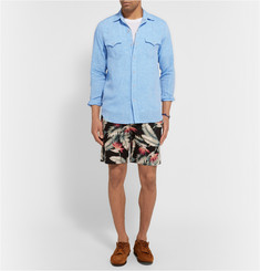 Freemans Sporting Club Slim-Fit Floral-Print Linen and Cotton-Blend Shorts