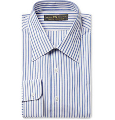 Freemans Sporting Club Blue Slim-Fit Striped Cotton-Poplin Shirt