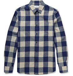 Hentsch Man Buffalo Checked Cotton and Linen-Blend Shirt