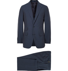 Thom Sweeney Navy Mount Street Cotton Three-Piece Suit