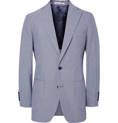 Thom Sweeney Navy Curzon Gingham Cotton Blazer