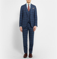 Thom Sweeney Navy Mount Street Checked Cotton Three-Piece Suit