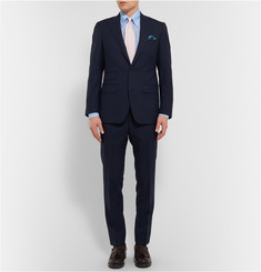 Thom Sweeney Blue Slubbed Cotton and Linen-Blend Shirt