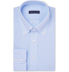 Thom Sweeney Blue Gingham Cotton and Linen-Blend Shirt