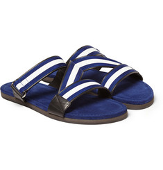 Dan Ward Striped Grosgrain-Trimmed Leather Sandals